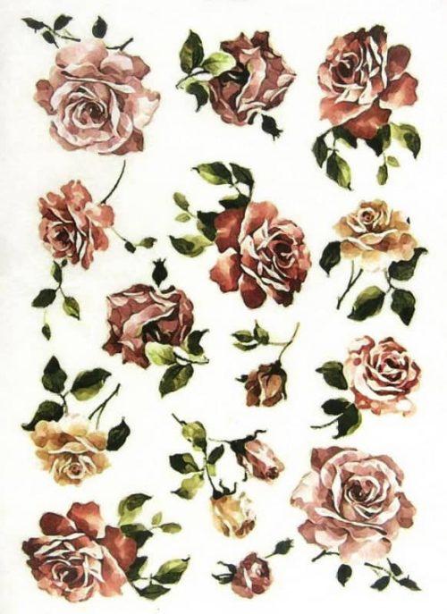 Rice Paper - Burgundy Roses