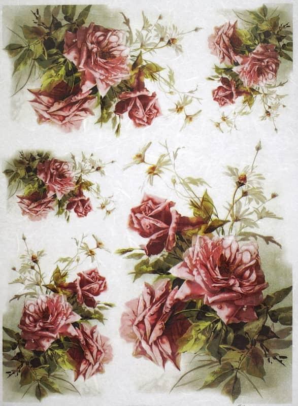 Rice Paper - Claret Roses Bouquets