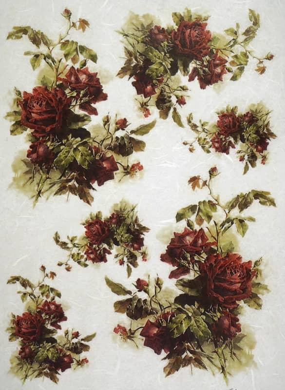 Rice Paper - Claret Roses Bouquets 2