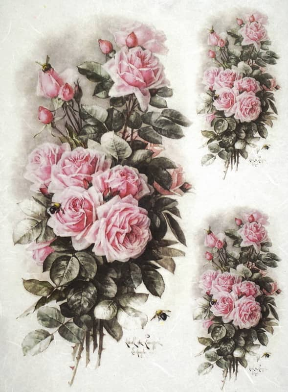 Rice Paper - Light Pink Roses Bouquets