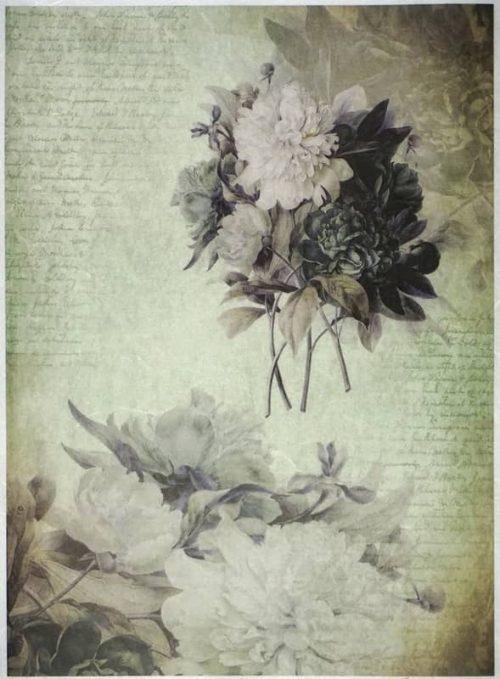 Rice Paper - Flowers on Greean-