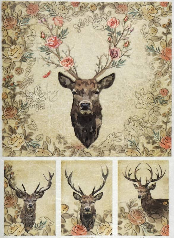 Rice Paper - Stags and Roses -