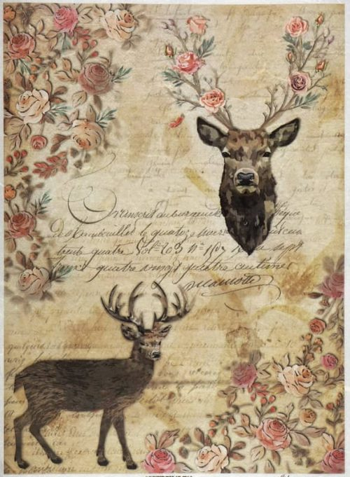 Rice Paper - Stags, Roses and handwritings-