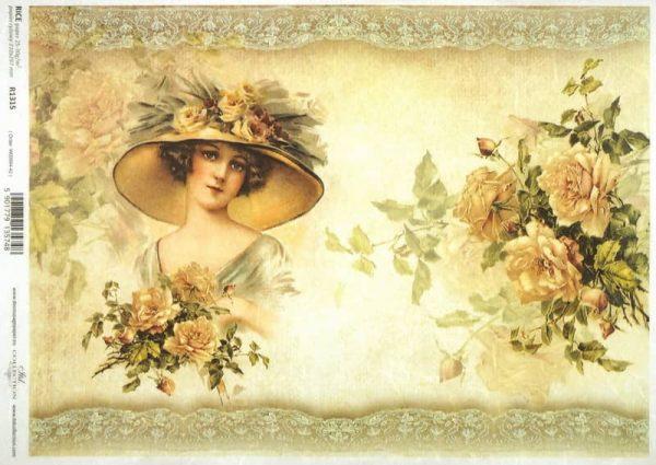 Rice Paper - Lady & Orange Roses
