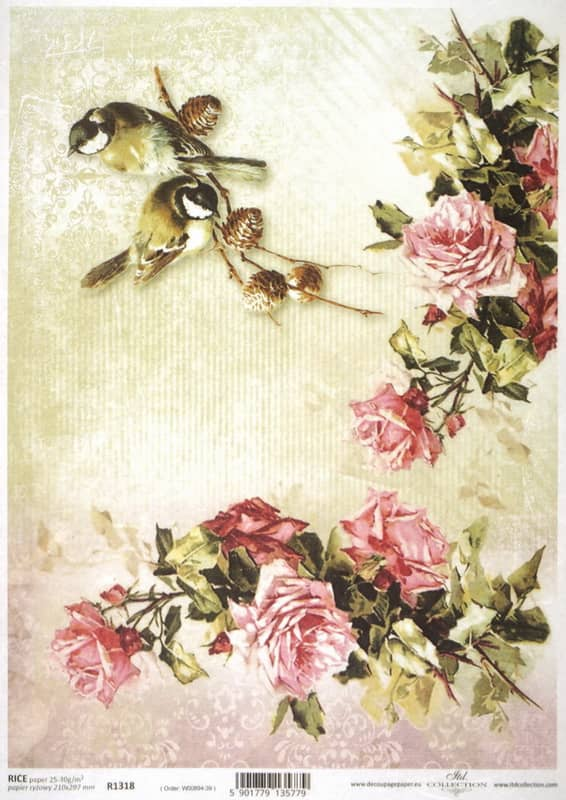 Rice Paper - Birds with Red Roses