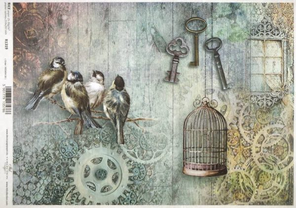 Rice Paper - Birds and Keys