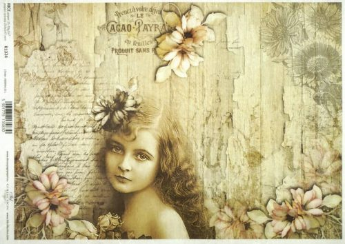 Rice Paper - Vintage Girl and flower