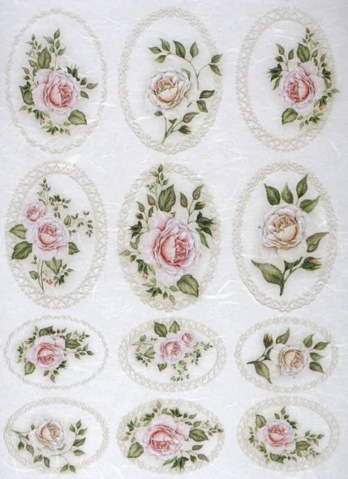 Rice Paper - Pastel Roses in Frames