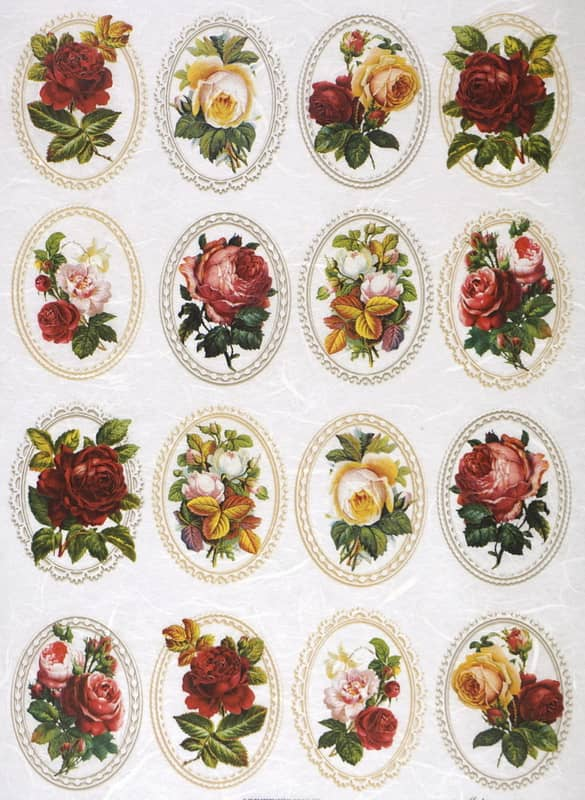Rice Paper - Roses in Frames