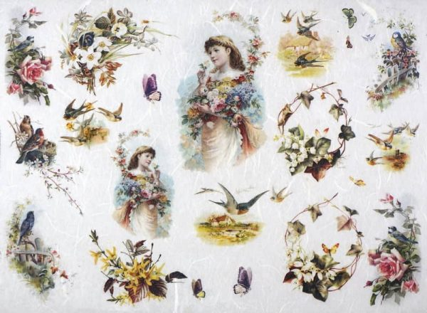 Rice Paper - Flowers, Girls and Birds