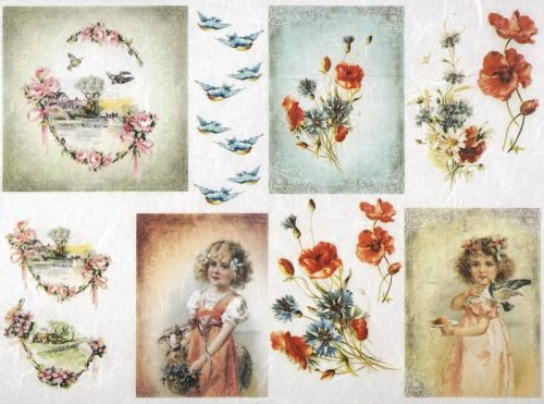 Rice Paper - Girl, Birds, Poppy