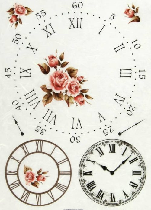 Rice Paper - Clock and Roses