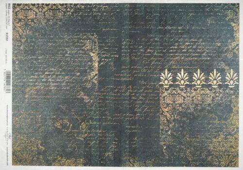 Rice Paper - Metallic pattern green