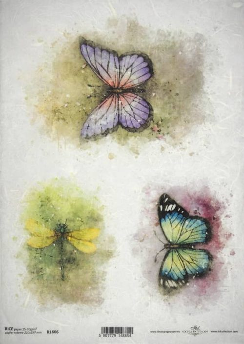 Rice Paper A/3 - Painted colorful butterflies