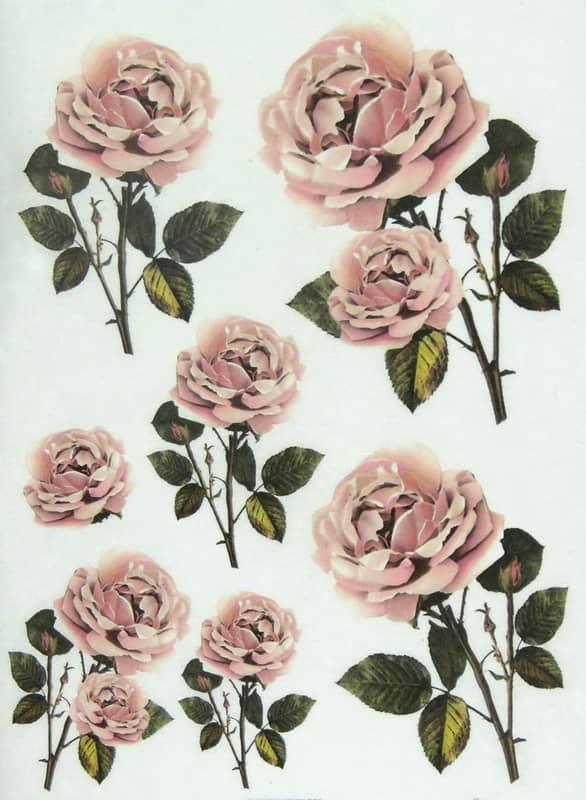 Rice Paper - Pastel Pink Roses
