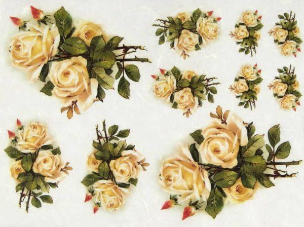 Rice Paper - Vintage Yellow Rose
