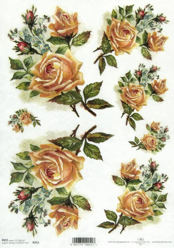 Rice Paper - Champagne Roses