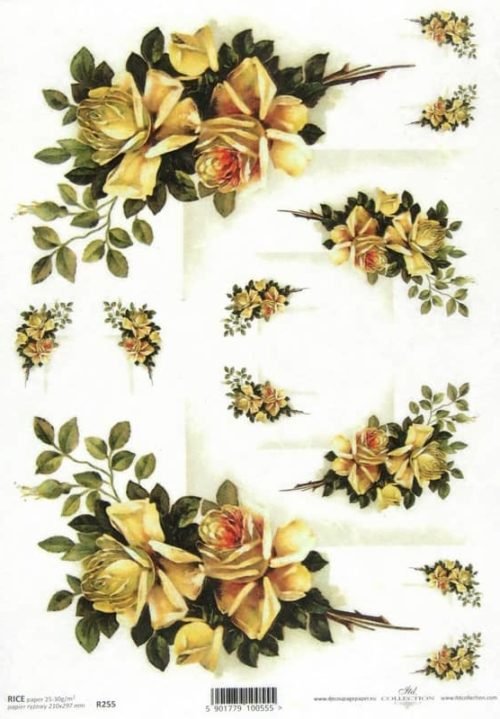 Rice Paper - Vintage Yellow Roses