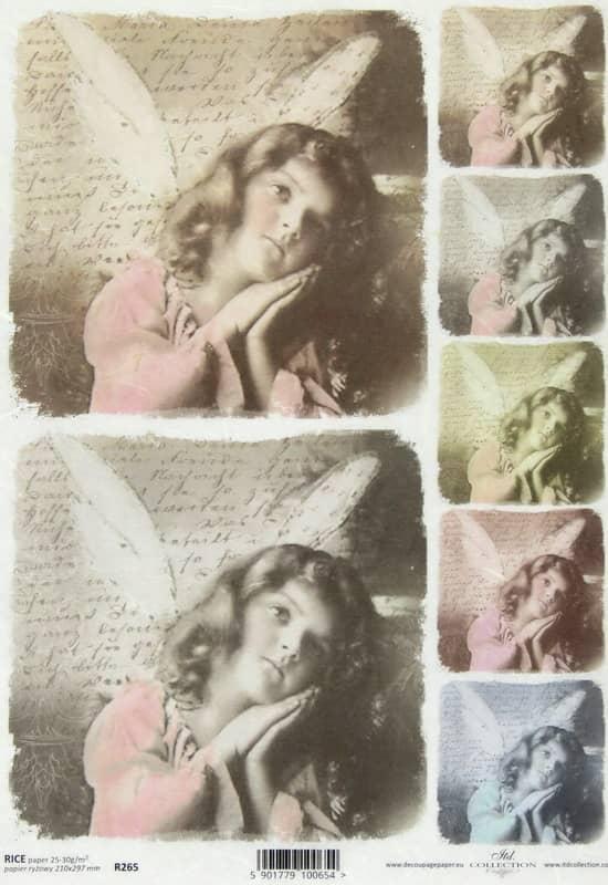 Rice Paper - Vintage Angel & Letter