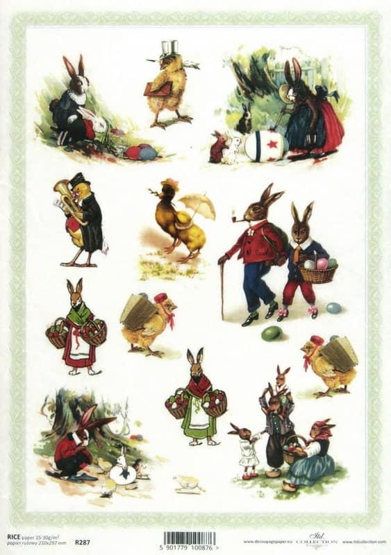 Rice Paper - Easter Rabbit Family