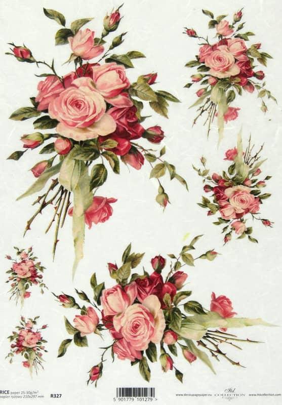 Rice Paper - Vintage Rose Bouquet