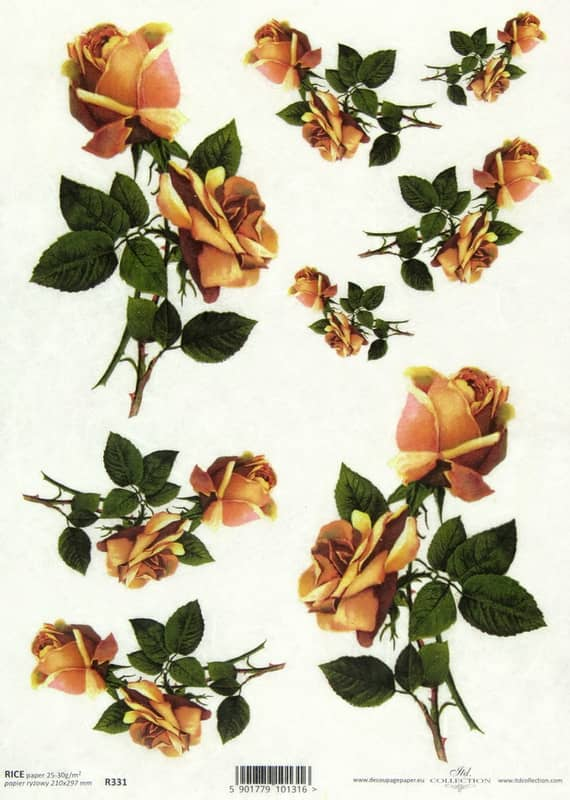 Rice Paper - Two Orange Roses