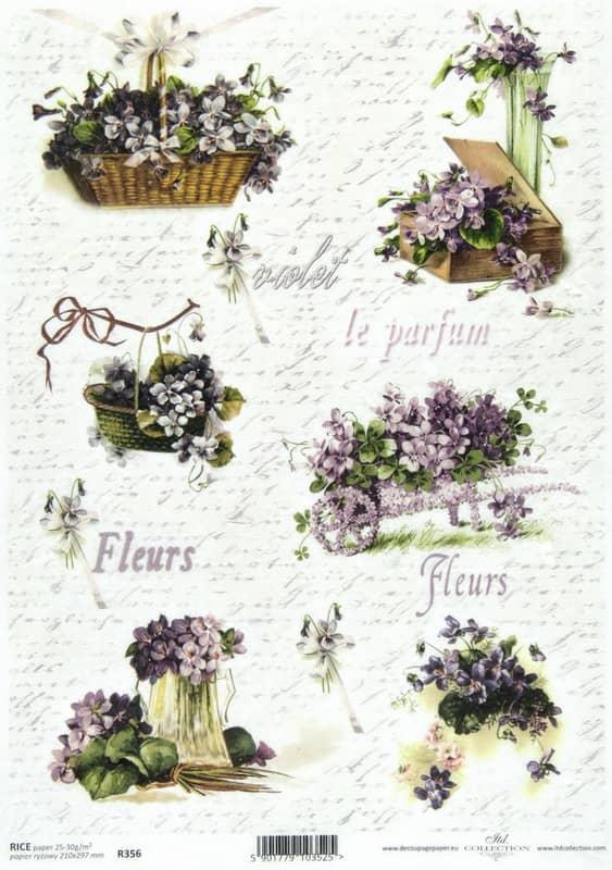 Rice Paper - Vintage Roses Violet-