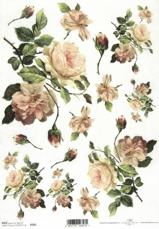 Rice Paper - Vintage Roses White
