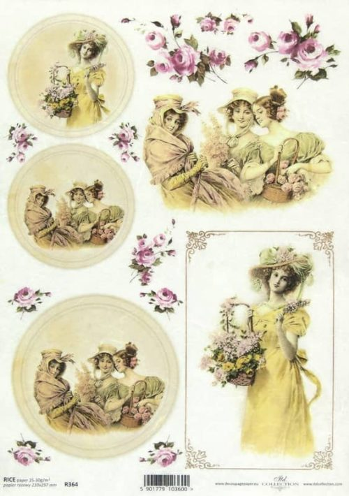 Rice Paper - Ladies with Flower