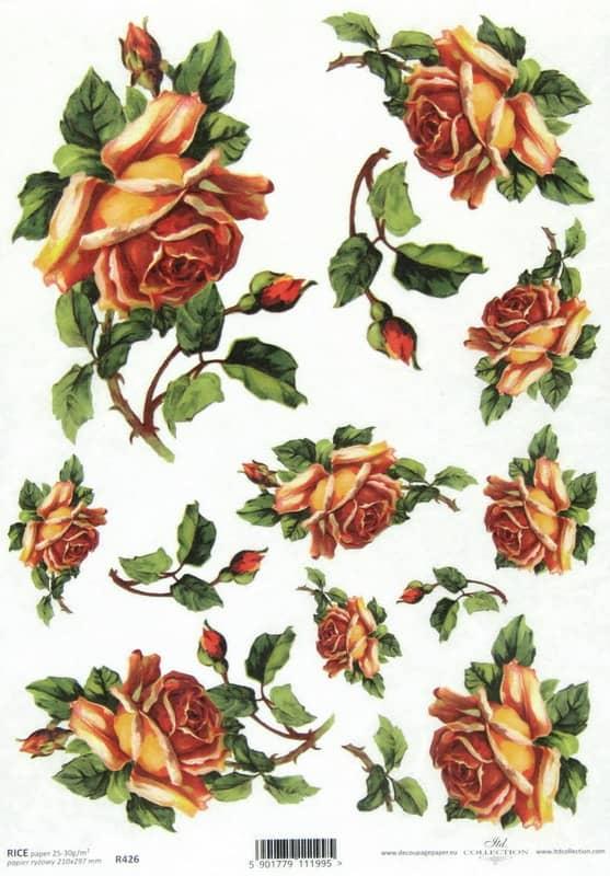 Rice Paper - Orange Roses