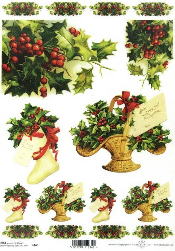Rice paper - Christmas Bouquet -