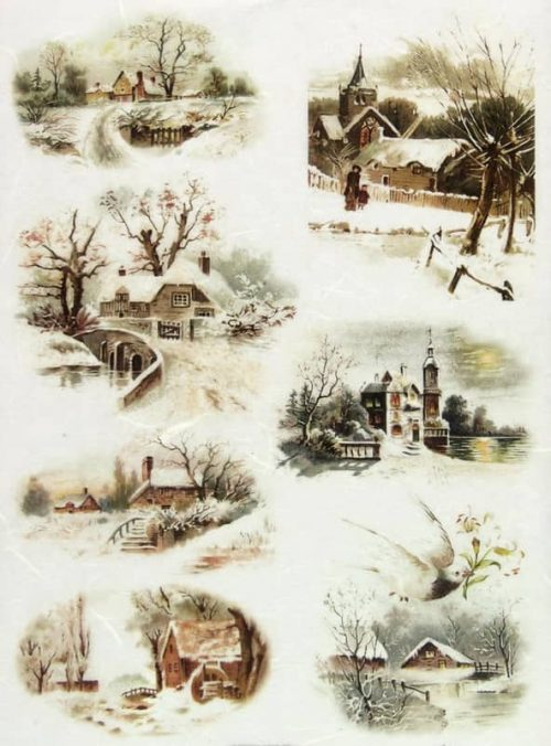 Rice Paper - Winter Landscape Village