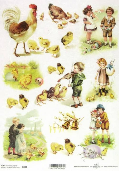 Rice Paper - Easter Cottage Children