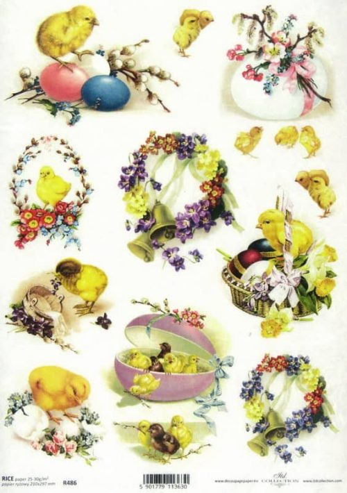 Rice Paper - Easter flowers and chiks