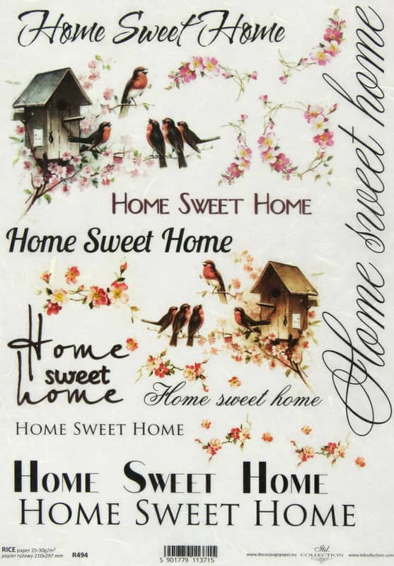 Rice Paper - Vintage Home Sweet Home