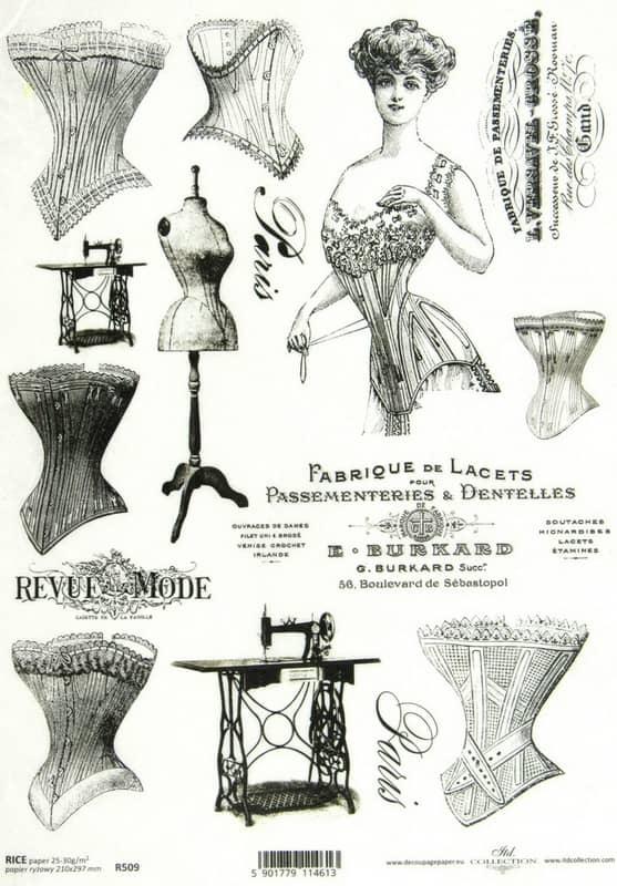 Rice Paper - Vintage Sewing Black