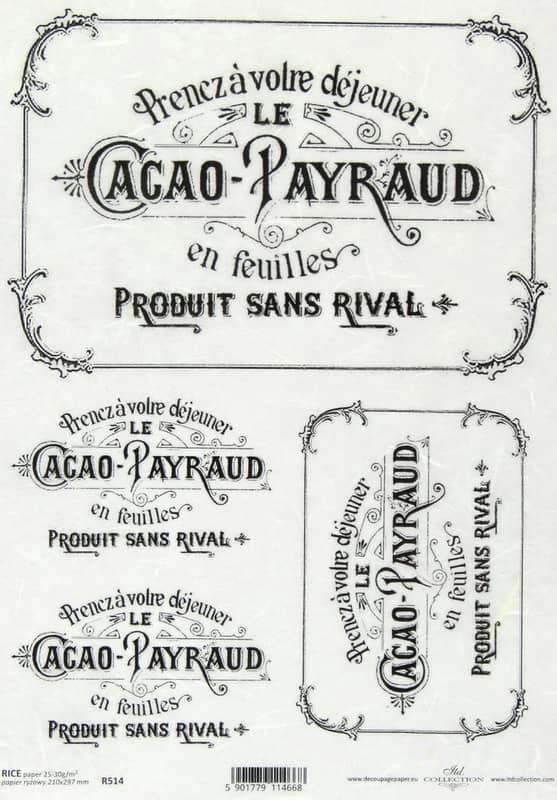 Rice Paper - Vintage Labels Black