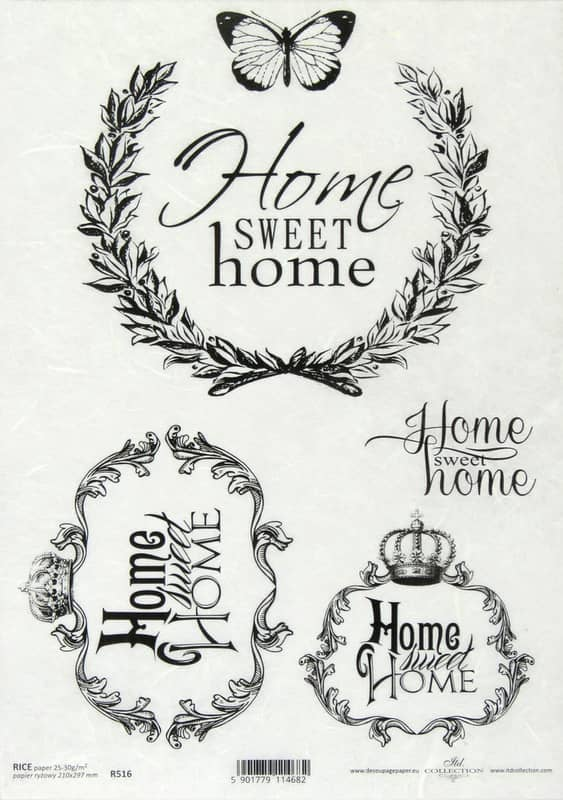Rice Paper - Vintage Label Sweet Home