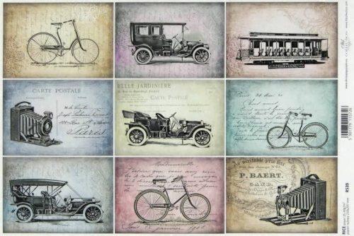 Rice Paper - Vintage Old Vehicles Postcards