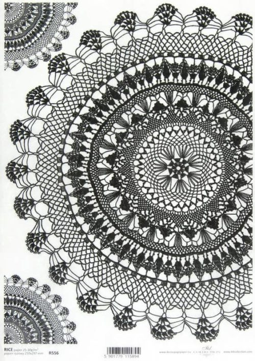 Rice Paper - Round Lace Black