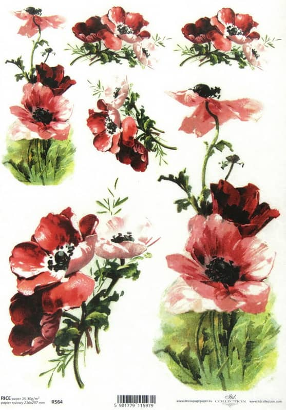 Rice Paper - Painted Flowers