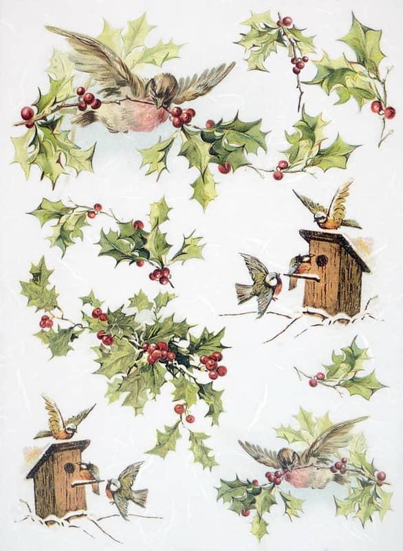 Rice Paper - Winter Birdhouses