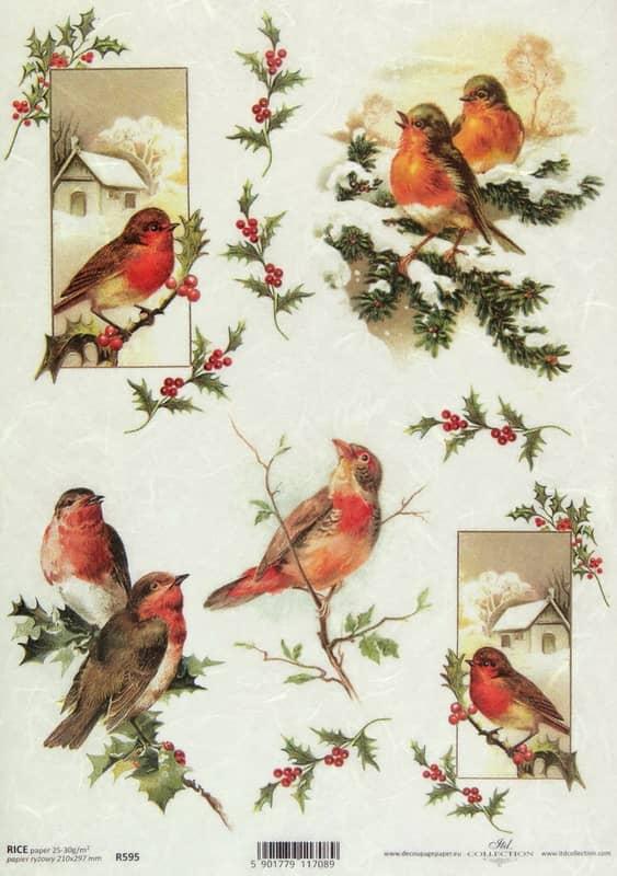 Rice Paper - Vintage Winter Birds-