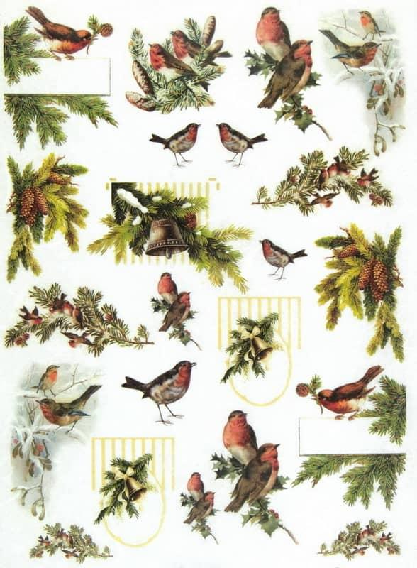 Rice Paper - Winter Birds Family