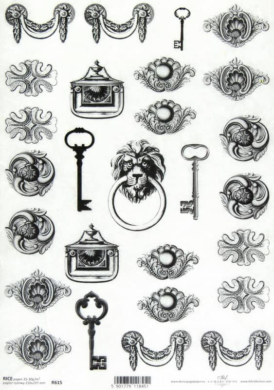 Rice Paper - Baroque Keys and Ornaments