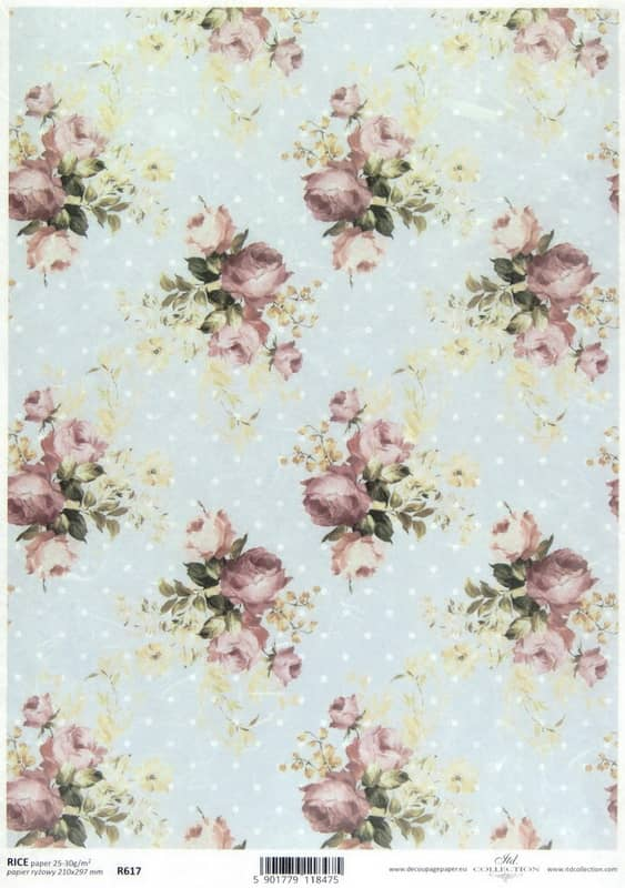 Rice Paper - Shabby Chic Roses M- ,ing
