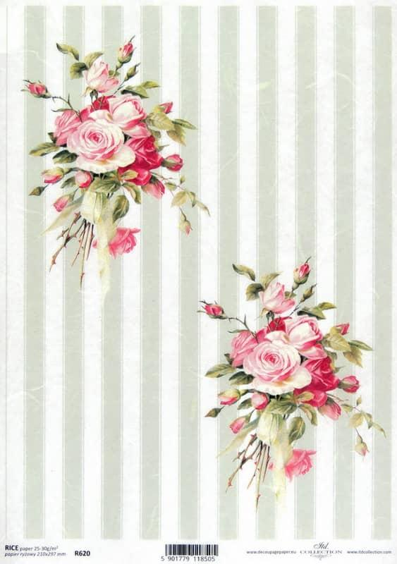 Rice Paper - Craft Striped Pattern Roses L