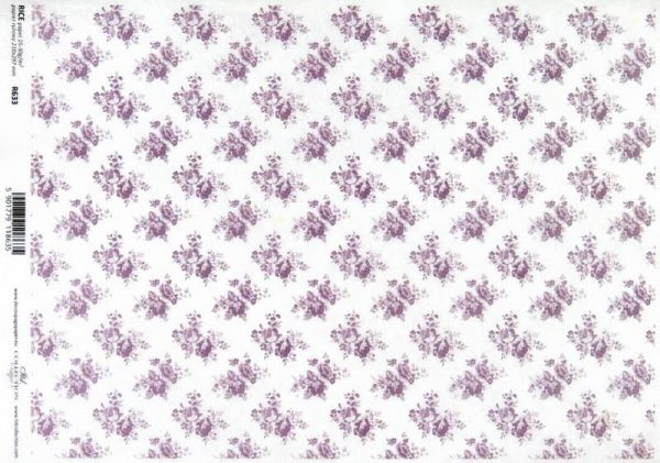 Rice Paper - Country Purple Roses S