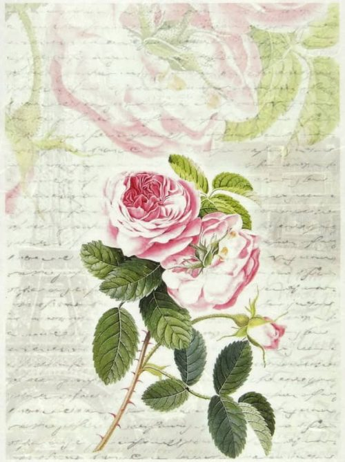 Rice Paper - Rose Paris and Letter-