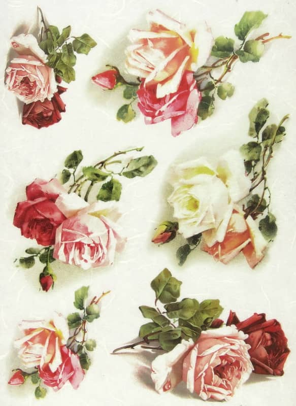 Rice Paper - White and Red Roses